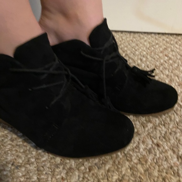 Black Suede Bootees Size 8 Dr Scholls Shoe